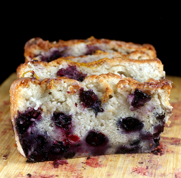 Smashed Blueberry Lemon Loaf Cake made with Nonfat Greek Yogurt