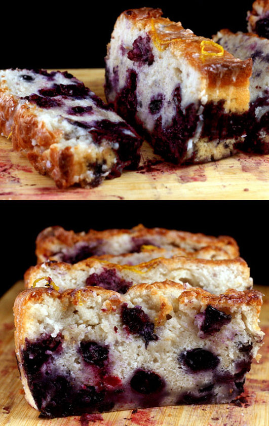 Super Moist Smashed Blueberry Lemon Loaf Cake made with Nonfat Greek Yogurt. You'd never know this cake was 95% fat free!