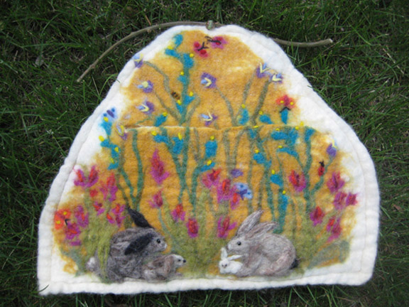 pocket full of bunnies wall hanging