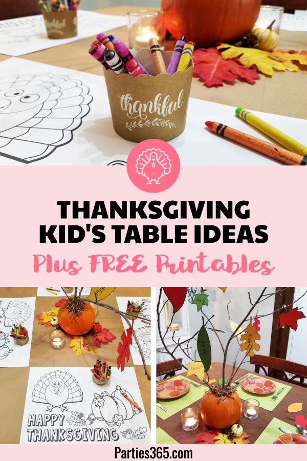 Thanksgiving Kids Table Ideas Free Printables - Parites365