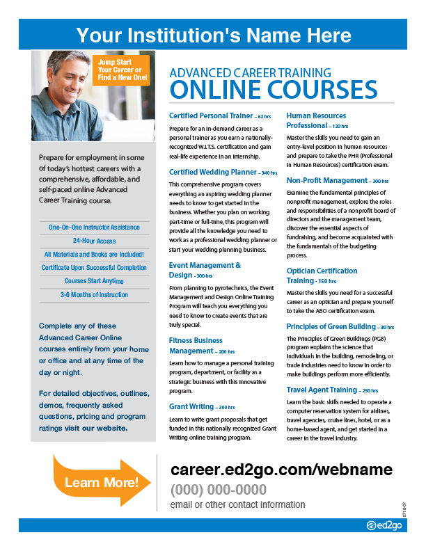 Flyer Advanced Career Training \u2013 Three Column - how to write a flyer