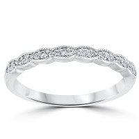 1/5 cttw Diamond Stackable Womens Wedding Ring 14k White Gold