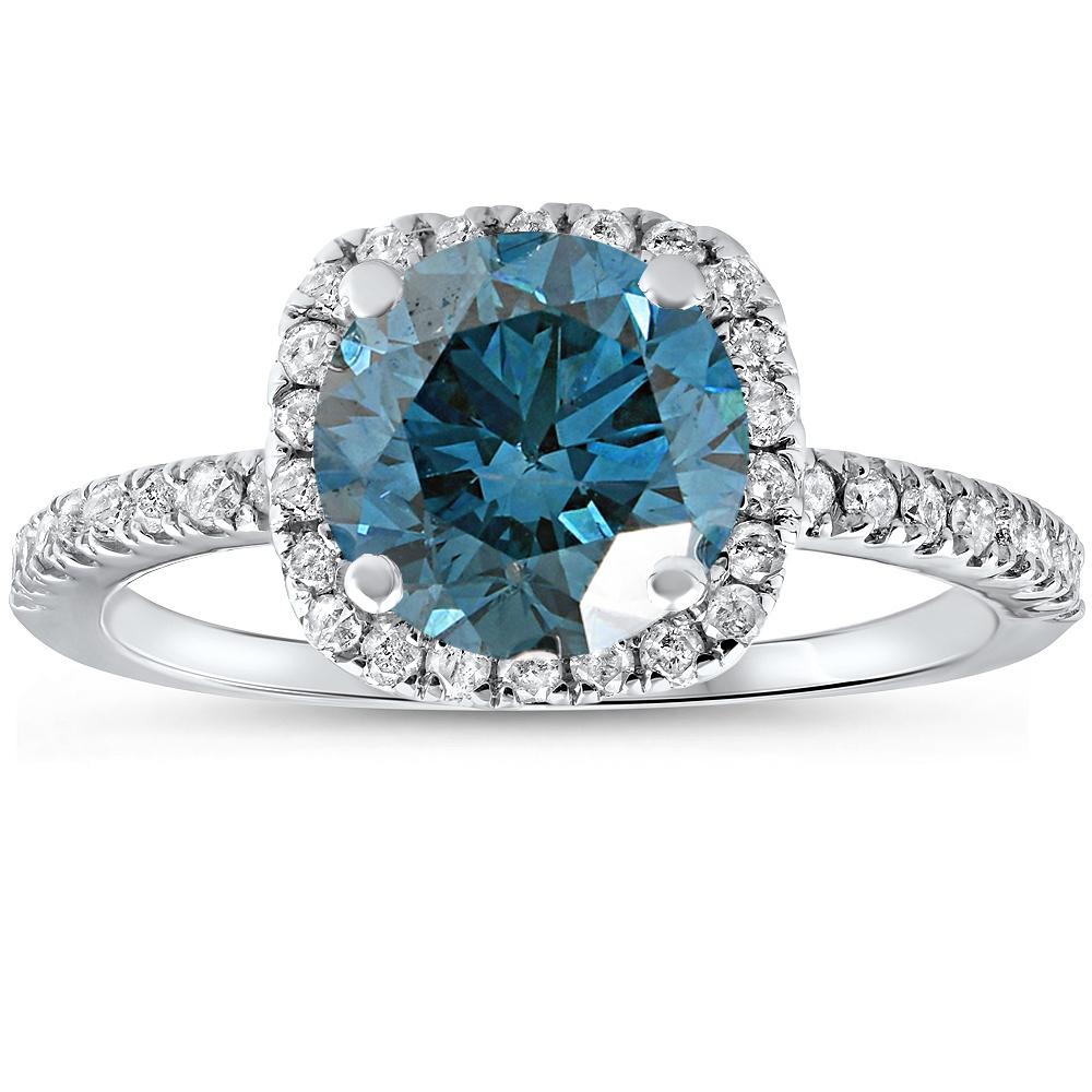 1 3 4 Ct Blue Diamond Cushion Halo Engagement Ring 14k