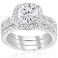 2 3/4ct Cushion Halo Diamond Engagement Wedding Ring Set ...