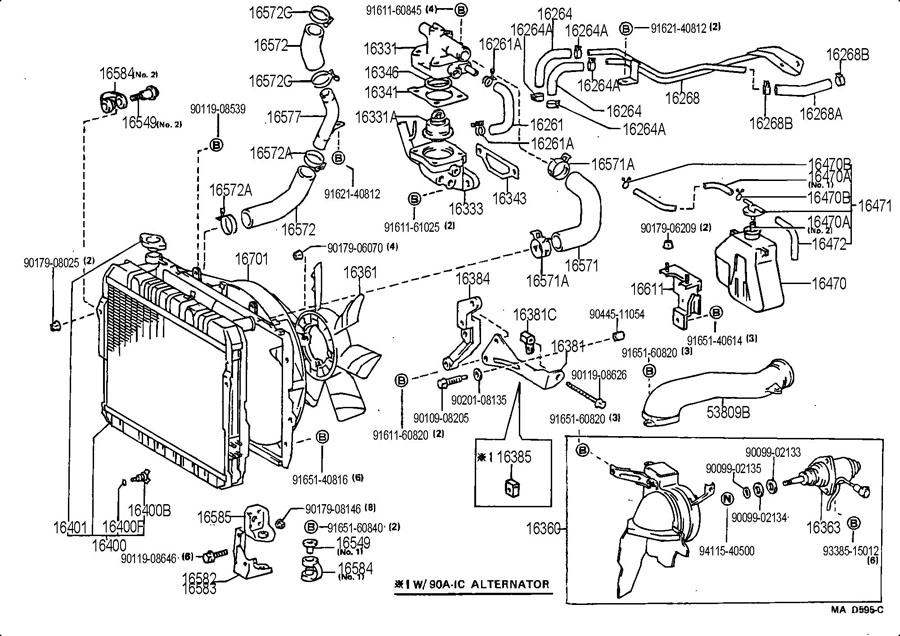 1991 toyota land cruiser Motordiagramm