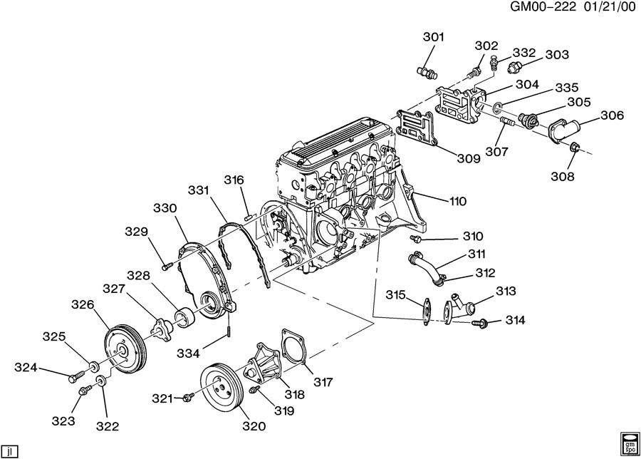 2 2l chevy engine diagram
