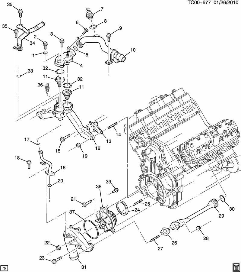 duramax water pump diagram