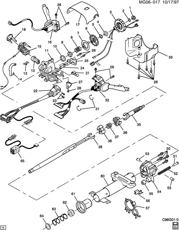 oldsmobile steering column wiring
