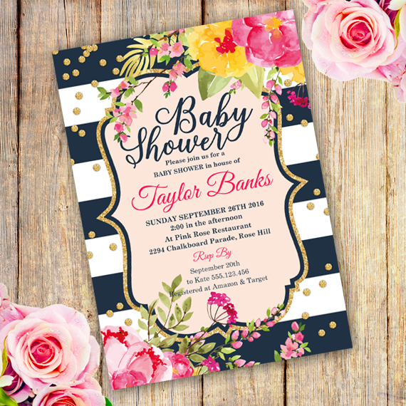 Watercolor Floral Baby Shower Invitation Template -Edit with Adobe