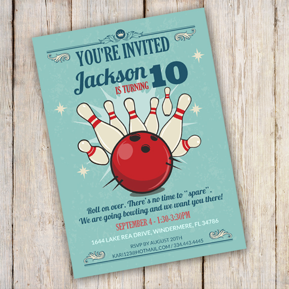 Bowling Birthday Party Invitation Template - edit with Adobe