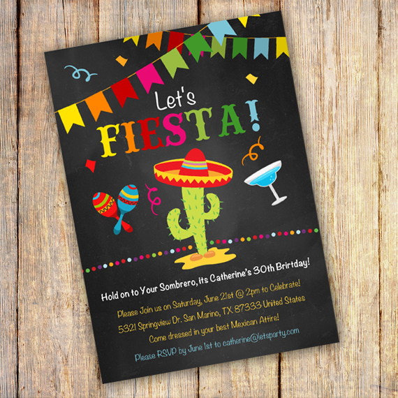 Mexican Fiesta Birthday Party Invitation Template - edit with Adobe