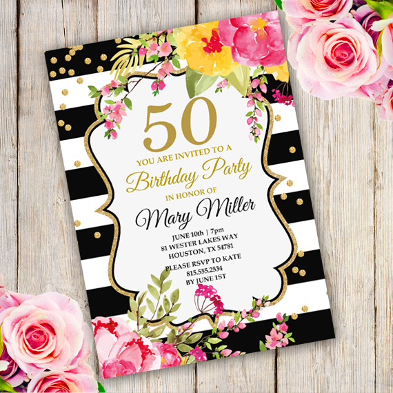 Anniversary Birthday Party Invitation Template - edit with Adobe