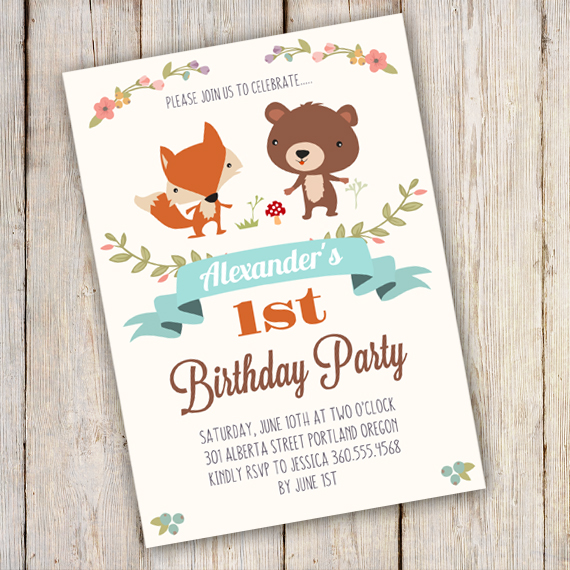 WOODLAND Birthday Party Invitation Template - edit with Adobe