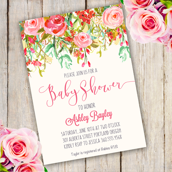 Whimsical Baby Shower Invitation template - Edit with Adobe - Editable Baby Shower Invitations