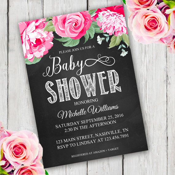 Chalkboard flower Shower Invitation template - Edit with Adobe - chalk board invitation template