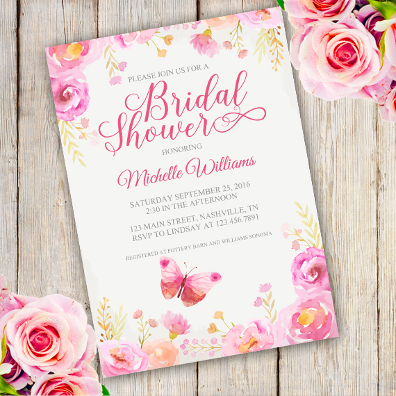 Floral Bridal Shower Invitation Template - Edit with Adobe
