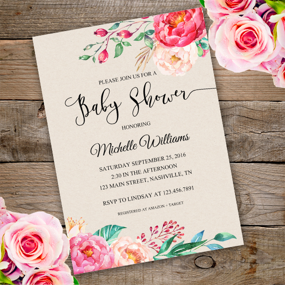 Floral Baby Shower Invitation template - Edit with Adobe readerParty