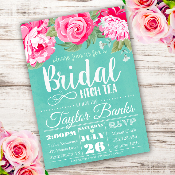 Bridal High Tea Invitation Template - Edit with Adobe ReaderParty