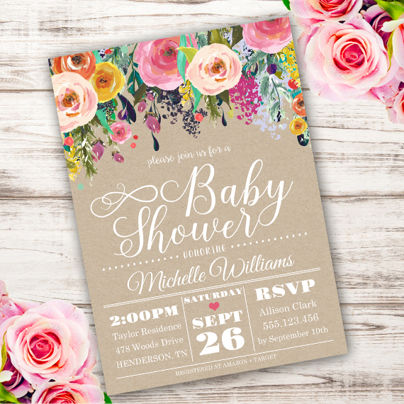 Shabby chic Baby Shower Invitation Template - Edit with Adobe
