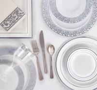 White Silver Premium Tableware - Silver Trim Premium ...