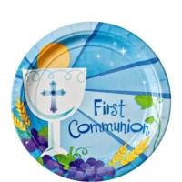 Boy's First Communion Dessert Plates 18ct - Party City