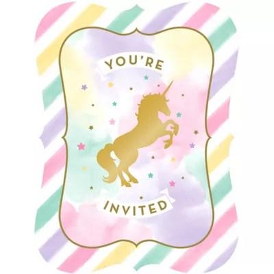 Colorful Fall Scene Wallpaper Sparkling Unicorn Invitations 8ct Party City