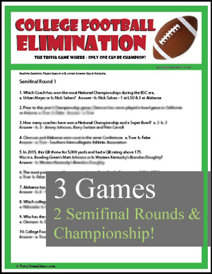 College Football Elimination Trivia Game - Printable Game
