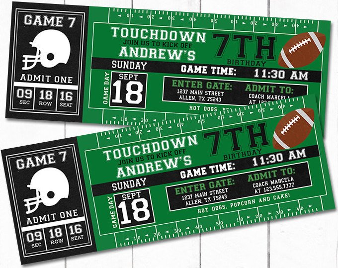 Football Party Invitations Sports Themed Parties PartyIdeaPros - party ticket invitations
