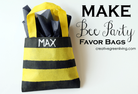 how to make bee birthday party favor bags - a tutorial from Creative Green Living