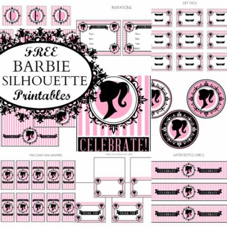 Bright image within free printable barbie silhouette