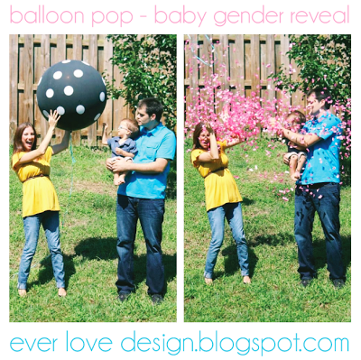balloon pop baby gender reveal photo