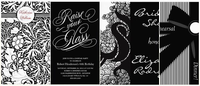 Stylish Black White Dinner Party Invitations ⋆ partyinvitecards