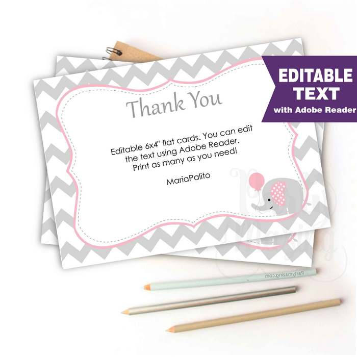 Editable Chevron Thank You Notes, Printable Baby shower Cards