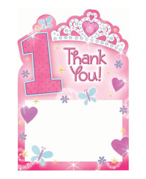 1st Birthday Princess Thank You Cards at Party Quackers