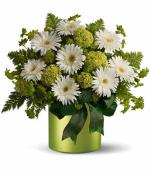 Green paired with White Gerbera Daisy Centerpiece