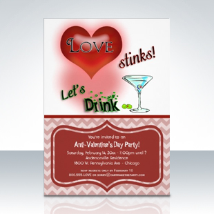 Whimsical Anti-Valentine's Day Party Invitations