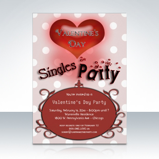 Whimsical Valentine's Day Singles Party Invitations