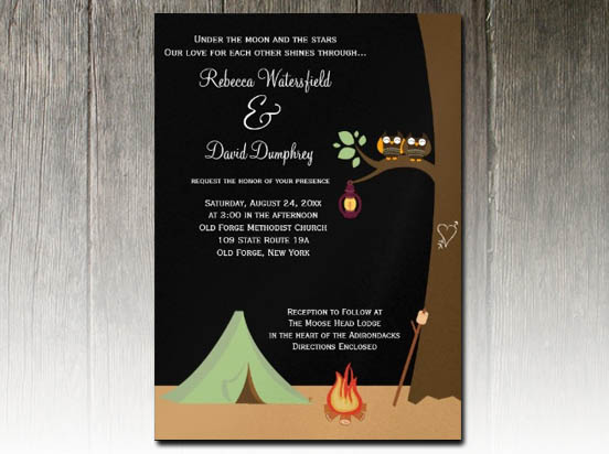 party simplicity campground  u0026quot glamping u0026quot  wedding invitation