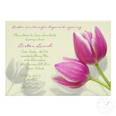 Pink tulips elegant easter party invitation