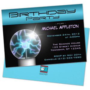 blue plasma ball geek theme personalized birthday party invitation