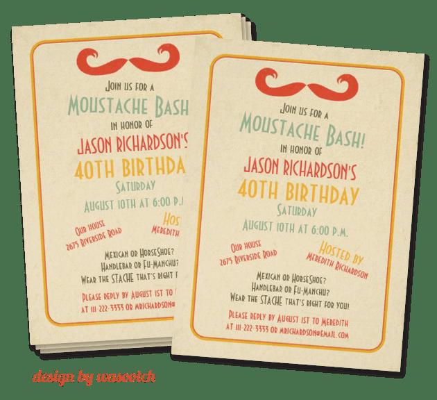 mustache bash party invitation | mustache trend