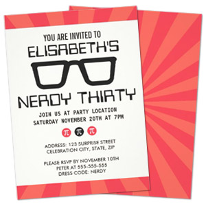 pi glasses girl geek theme personalized birthday party invitation