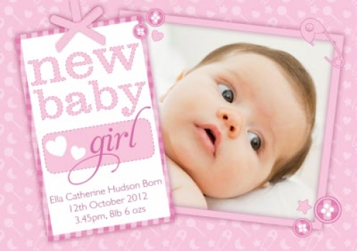 Personalised New Baby Girl Card - Congratulations Greeting Card
