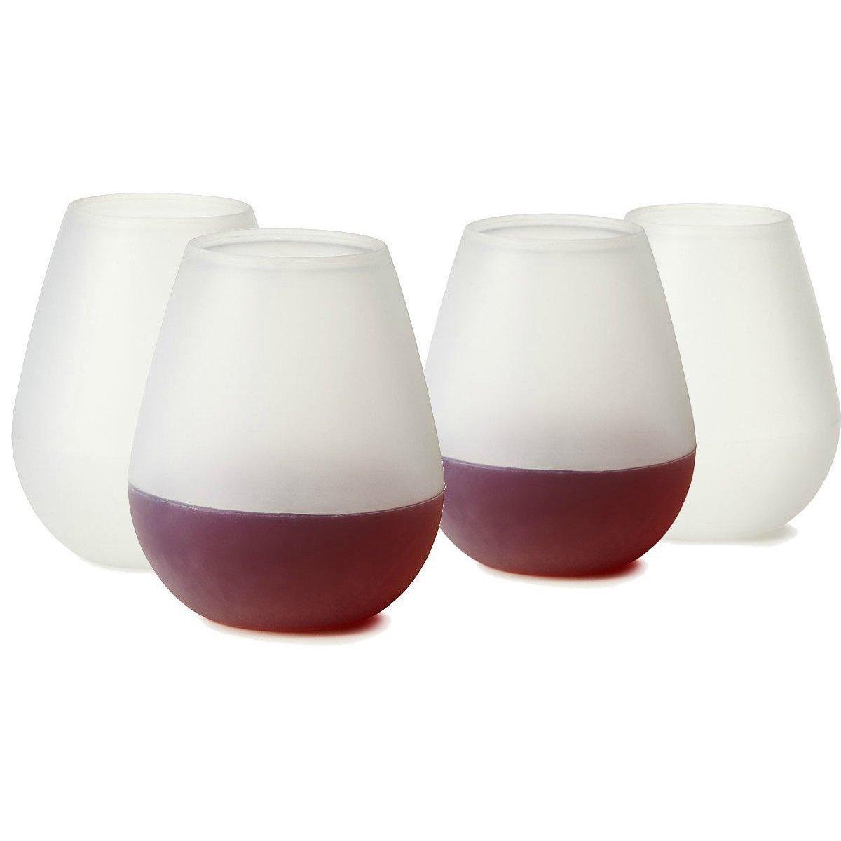 Hairy Or Bbq Shatterproof Reusable Makes A Wine Gift Bulk Set 4 Freshlove Silicone Wine Glasses 12oz Unbreakable Wine Walker Flexible Plastic Stemless Cups inspiration Bulk Wine Glasses