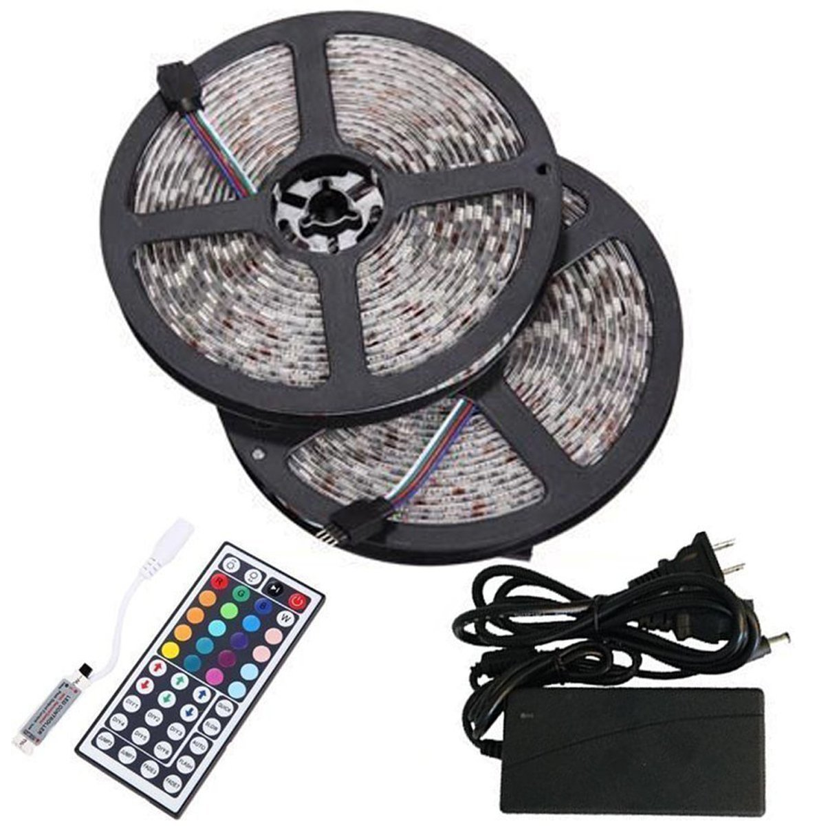 Led Light Strips Rgb Bmouo 2 Reels 12v 32 8ft Waterproof Flexible Rgb Led Strip Light Kit Multi Colored Smd5050 300 Leds Led Strip Kit Mini 44 Key Ir Controller 12v