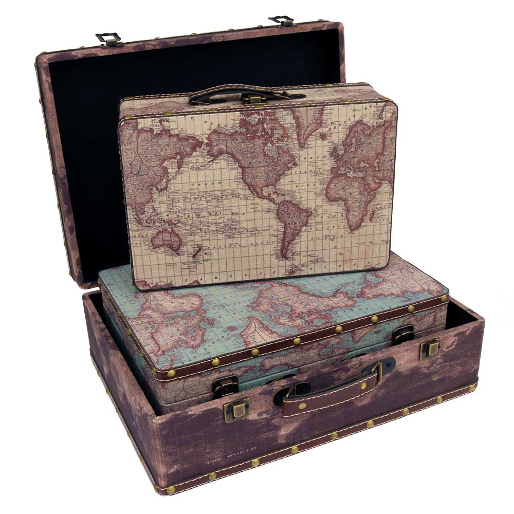 World Map Decorations World Map Upholstered Wood Suitcase Travel International Themed Party Decorations Supplies