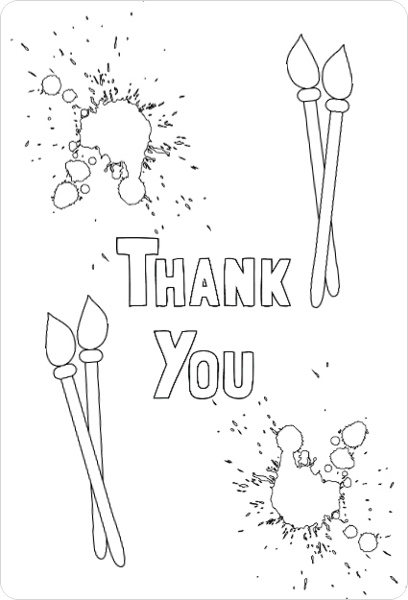 Art Party Color In Thank You Card