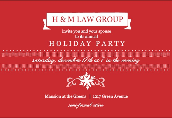 holiday party wording for company invite