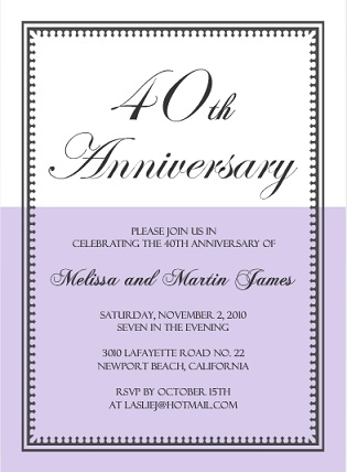 40th Anniversary Invitation Wording - anniversary invitation template