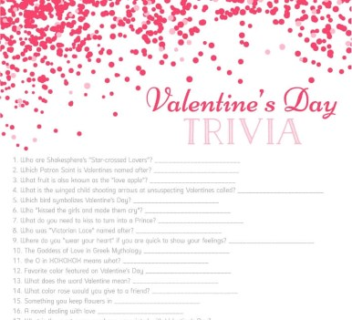 Valentine\u0027s Day Trivia - Free Printable Games From PurpleTrail